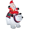 Airblown Lighted Large Santa Sitting on Polar Bear